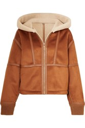 Stella Mccartney Hooded Faux Leather Trimmed Faux Shearling And Suede Jacket Brown