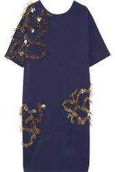 By Malene Birger Nuttah Embellished Stretch Crepe Dress Navy