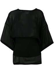 Dkny Sheer Banded Top Women Viscose M Black