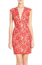 Aidan Mattox Women's By Open Back Lace Sheath Dress Red Nude