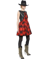 Philipp Plein Tartan Wool Flannel And Nappa Leather Red Black