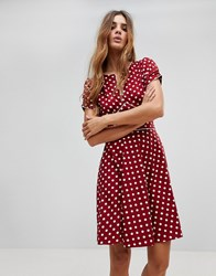 Trollied Dolly Polka Dot Dip And Flare Dress Brown