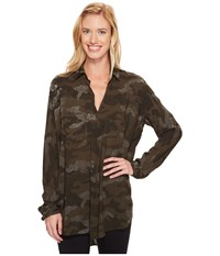 Hard Tail Long Sleeve Maxi Shirt Camo Olive Women's Long Sleeve Pullover Multi