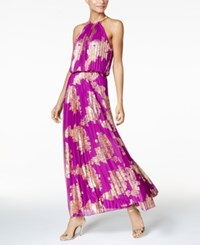 Msk Metallic Print Pleated Blouson Gown Berry Gold