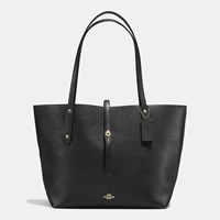 Coach Market Tote In Polished Pebble Leather Light Gold Black True Red