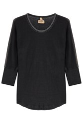 True Religion Embellished Linen Top Black
