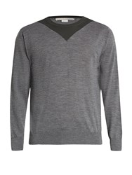 Stella Mccartney Two Tone Crew Neck Wool Sweater Grey