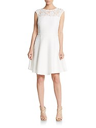 Taylor Lace Accented Knit Fit And Flare Dress White