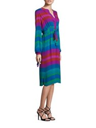 Etro Long Sleeve Multi Stripe Silk Dress Blue