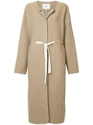 Goen.J Tie Waist Oversized Coat Brown