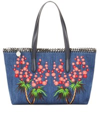 Stella Mccartney Falabella Embroidered Denim Shopper Blue