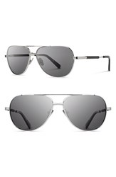 Women's Shwood 'Redmond' 53Mm Titanium And Wood Aviator Sunglasses Silver Ebony Grey