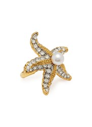 Kenneth Jay Lane Glass Crystal Glass Pearl Starfish Ring Metallic