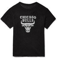 The Elder Statesman Nba Chicago Bulls Printed Cashmere And Silk Blend T Shirt Black