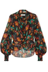 Caroline Constas Bette Shirred Floral Print Silk Chiffon Blouse Black