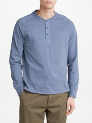 John Lewis And Co. Long Sleeve Henley T Shirt Blue