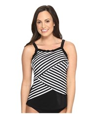 Miraclesuit New Directions Color Block High Neck Tankini Top Black White Women's Swimwear