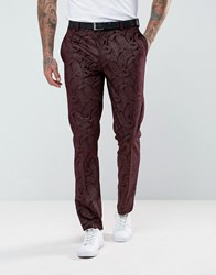 Asos Skinny Tuxedo Suit Pants In Burgundy Velvet Paisley Red