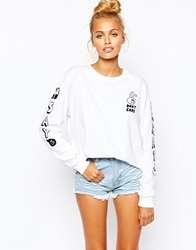 Lazy Oaf Long Sleeve T Shirt With Say What Arm Print White