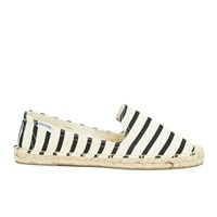 Soludos Women's Classic Stripe Espadrille Smoking Slippers Black Natural Black White