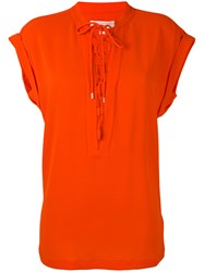 Michael Michael Kors Front Lace Up Detail Top Women Polyester Spandex Elastane M Yellow Orange