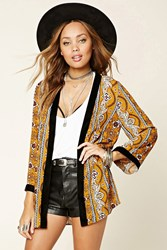 Forever 21 Ornate Open Front Cardigan Mustard Black