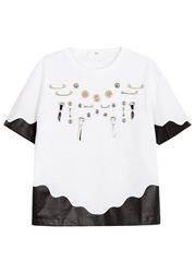 Toga Pulla White Charm Embellished Cotton T Shirt