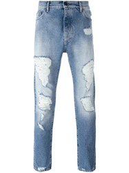 Palm Angels Distressed Jeans Blue
