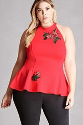 Forever 21 Plus Size Floral Halter Top Coral