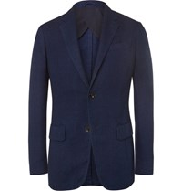 Ermenegildo Zegna Blue Slim Fit Woven Cotton Blazer Blue
