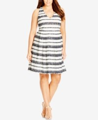 City Chic Plus Size Striped Lace Racerback Dress Ivory