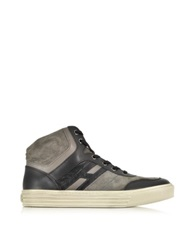 Hogan Rebel Gray Suede And Black Leather High Top Sneaker