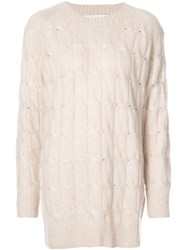 Ryan Roche Oversized Cable Knit Sweater Cashmere Silk White
