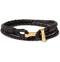 Tom Ford Braided Leather And Gold Plated Bracelet Black