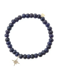 Sydney Evan Blue Sapphire Rondelle Beaded Bracelet With 14K Gold Diamond Small Starburst Charm Made To Order