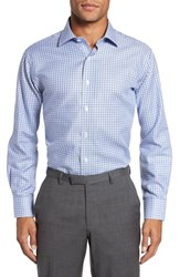 Lorenzo Uomo 'S Big And Tall Trim Fit Textured Check Dress Shirt Navy