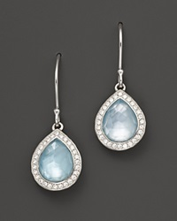 Ippolita Sterling Silver Stella Small Teardrop Earrings In Blue Topaz Mother Of Pearl With Diamonds Multi