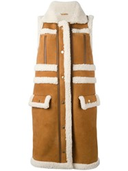 Carven Sleeveless Shearling Coat Brown