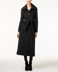 Calvin Klein Wool Blend Maxi Trench Coat Black
