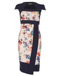 Feverfish Asymmetic Contrast Print Dress Navy