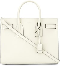 Saint Laurent Sac De Jour Small Grained Leather Tote White Black