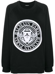 Balmain Logo Stamp Sweatshirt Black