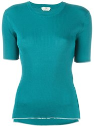 Fendi Ribbed T Shirt Blue