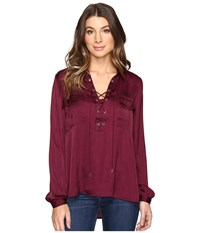 Catherine Malandrino Long Sleeve Lace Up Blouse Zinfandel Women's Clothing Brown