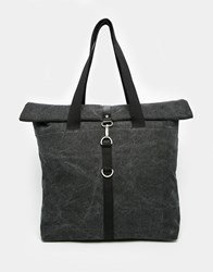 Asos Washed Black Canvas Tote With Roll Top Black