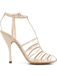 Nina Ricci Cut Out Cage Sandals Nude And Neutrals