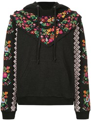 Needle And Thread Floral Embroidered Hoodie Black