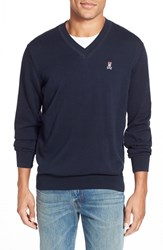 Men's Psycho Bunny Regular Fit V Neck Sweater Navy