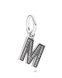 Pandora Design Pandora Pendant Sterling Silver And Cubic Zirconia Letter M Moments Collection Silver Clear