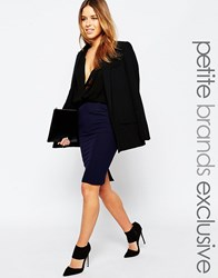 Alter Petite Frill Pocket Tailored Pencil Skirt Navy